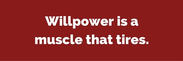 Willpower is a muscle that tires.